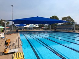 Commercial Heavy 430 fabric picked for large shade structures at Speers Point pool