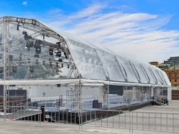 Clear marquee created for launch event uses Achilles Rollclear PVC glazing