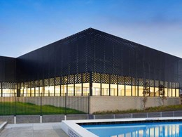 Undulating façade on  Sunbury Aquatic Centre created with custom perforated metal