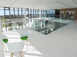 Flowcrete's modern aesthetic matches Menai Science Park's interior design