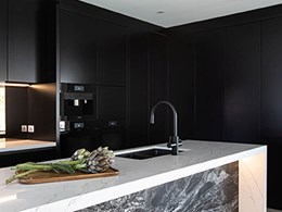 Matte black Zip HydroTap blends into showpiece kitchen's moody colour scheme