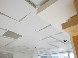 Geometrix 3-D metal ceiling panels add unconventional design element to ML Design lobby