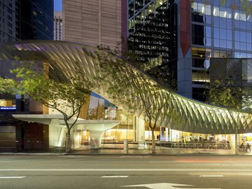 fjmt's sharp and sloped reinterpretation of a traditional street awning