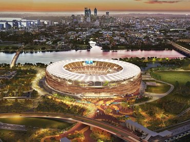 The design for Perth Stadium is a collaboration between HASSELL, Cox and HKS. Image: WESTADIUM