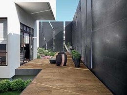 Timber look tiles in outdoor installations