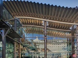 Spectacular undulating roof on White Bay Cruise Terminal built with ARAMAX FreeSpan