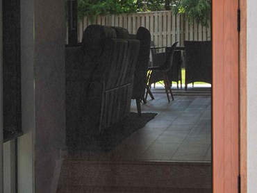A security screen door with a Woodgrain finish frame