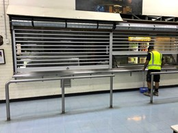 Roller shutters secure Woolworths depot kitchen canteen servery