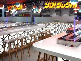 YO! Sushi fitout at Sydney Airport features trendy acrylic panels