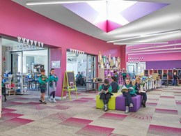 Carpet tiles in vibrant colour palette inspire at Amsleigh Park school