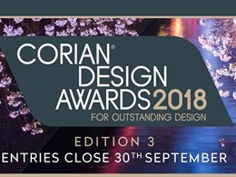 Corian Design Awards 2018 - Entries for Edition 3 close 30 September