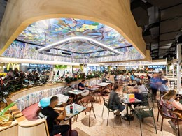 Melaleuca paperbark forest recreated on MIMIC panels for food court