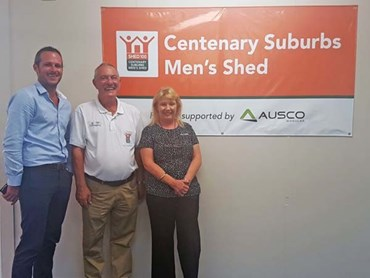 Allister Millican, Ausco's QLD Sales Manager pictured with David Cope, Centenary Suburbs Men's Shed President and Bernadette Bramble, Ausco's Business Development Representative