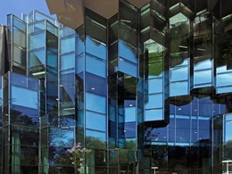 Origami style towering glass walls at new Geelong Library