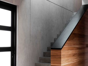 Cemintel's Barestone cladding on the wall adjoining the staircase
