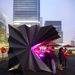 Folded aluminium kiosks by Make Architects pop-up in London