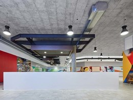 Concrete look acoustic ceiling tiles supplied to Mandurah Forum WA renovation