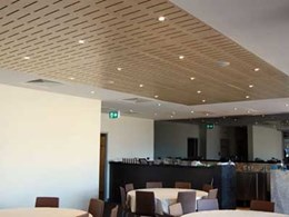 Ultraflex's slotted veneer panels with acoustic backing selected for restaurant interiors at Mt Druitt TAFE NSW
