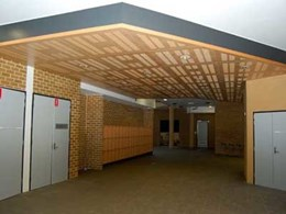 Ultraflex's slotted FR MDF with Euro Beech veneer customised for lecture theatre, library and foyers at Newington College NSW