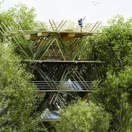Penda designs ecological bamboo hotel with a versatile framework