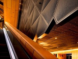 Quilted finish Pic Perf feature wall creates dramatic interior at Perth Arena