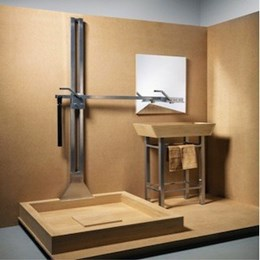 Pivoting bathroom fixture supplies water to both shower and sink