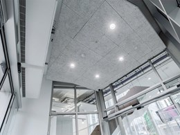Troldtekt acoustic panels add depth and drama to ceiling at Portsmouth University faculty building