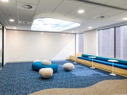 Custom Ontera carpet recreates the beach indoors at UXC Melbourne