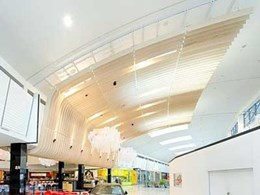 Ultraflex customises curved plywood battens for foodcourt feature ceiling at Rhodes Waterside
