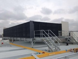 Flexshield's acoustic screens soundproofing rooftop chillers, plant decks