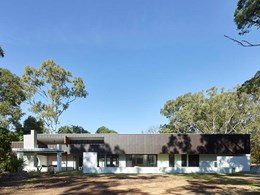 White painted brick references mid-century modern look at Chandler house
