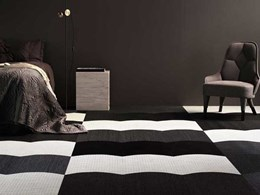 Rooftop tile-inspired vinyl flooring tiles: Wave by Bolon