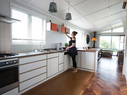1970s Waiheke kitchen modernised with birch plywood