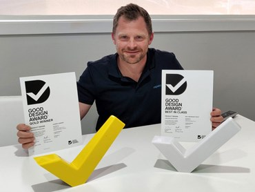 Expella director Wes Quick with the two Good Design Awards