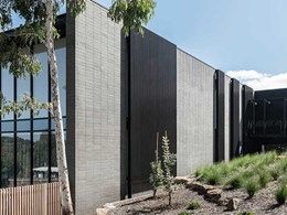 Concrete and timber look battens render modern aesthetic to Flinders residence
