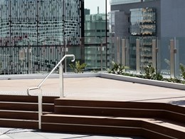 Urban oasis created on Daisho tower rooftop with Outdure products