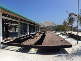 Deck area built at The Sheraton Maldives with Outdure framing and decking