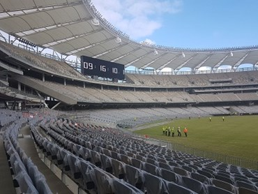 Big River's Anti-Slip plywood used for grandstand flooring at Perth Optus Stadium