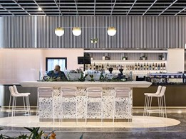 Timber adds energy and warmth to busy cafe at Melbourne airport