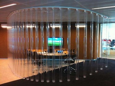 Acrylic tubes as conference room partitions in Commonwealth Bank HQ in Sydney