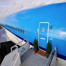 Airbnb & KLM transform a retired jetliner into a pop-up hotel