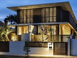 Timber look battens envelope luxury townhouse in Manly