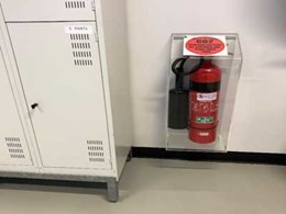 Protecting fire extinguishers in warehouses
