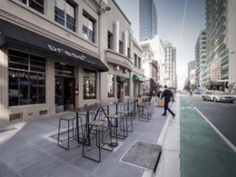 Outdoor dining in Waymouth Street takes off on Anston Mimosa Granite pavers