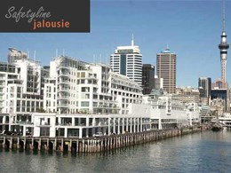 Auckland waterfront building features Safetyline Jalousie louvres