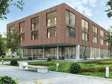 Avante façade system (after): The lightweight walling system can be used to get a realistic brick look