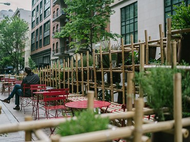 Students from the Parsons School of Design at The New School have created a new temporary public space in New York from recycled fishing net and natural timber. Images: Supplied