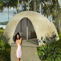 Dome-shaped Binishell homes constructed from inflatable concrete