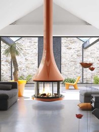 JC Bordelet-designed suspended fireplaces featured on Custom Homes
