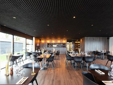 CSR Himmel Troldtekt Design Wood Wool panels in restaurant interior